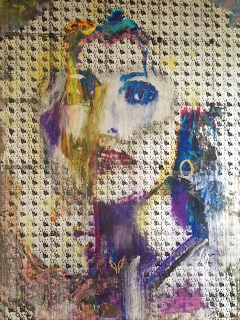 """Cie. Unbreakable""  2016, 56""x46"" mixed media on wood panel.  Collection of C. Sanita"