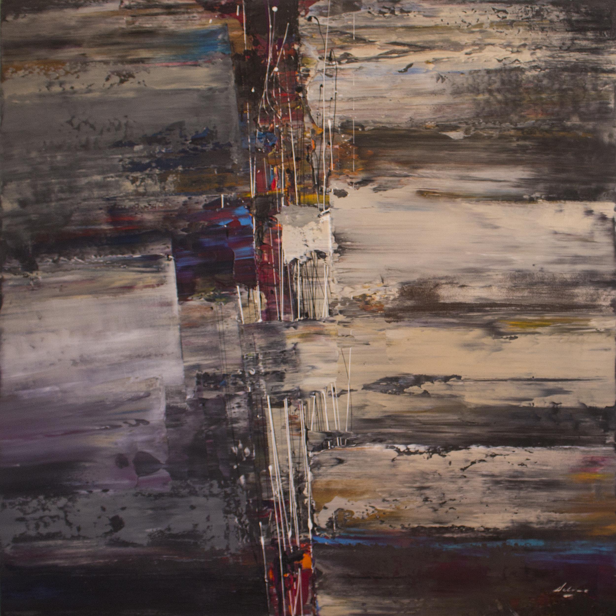 """title:  Post Matrix   size:  48"""" x 48"""" x 1.5""""  medium:  mixed media on canvas"""
