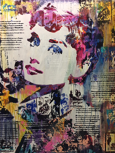 """Once Upon A Silverscreen (Audrey Hepburn) 40"""" x 48"""" Mixed media on panel"""
