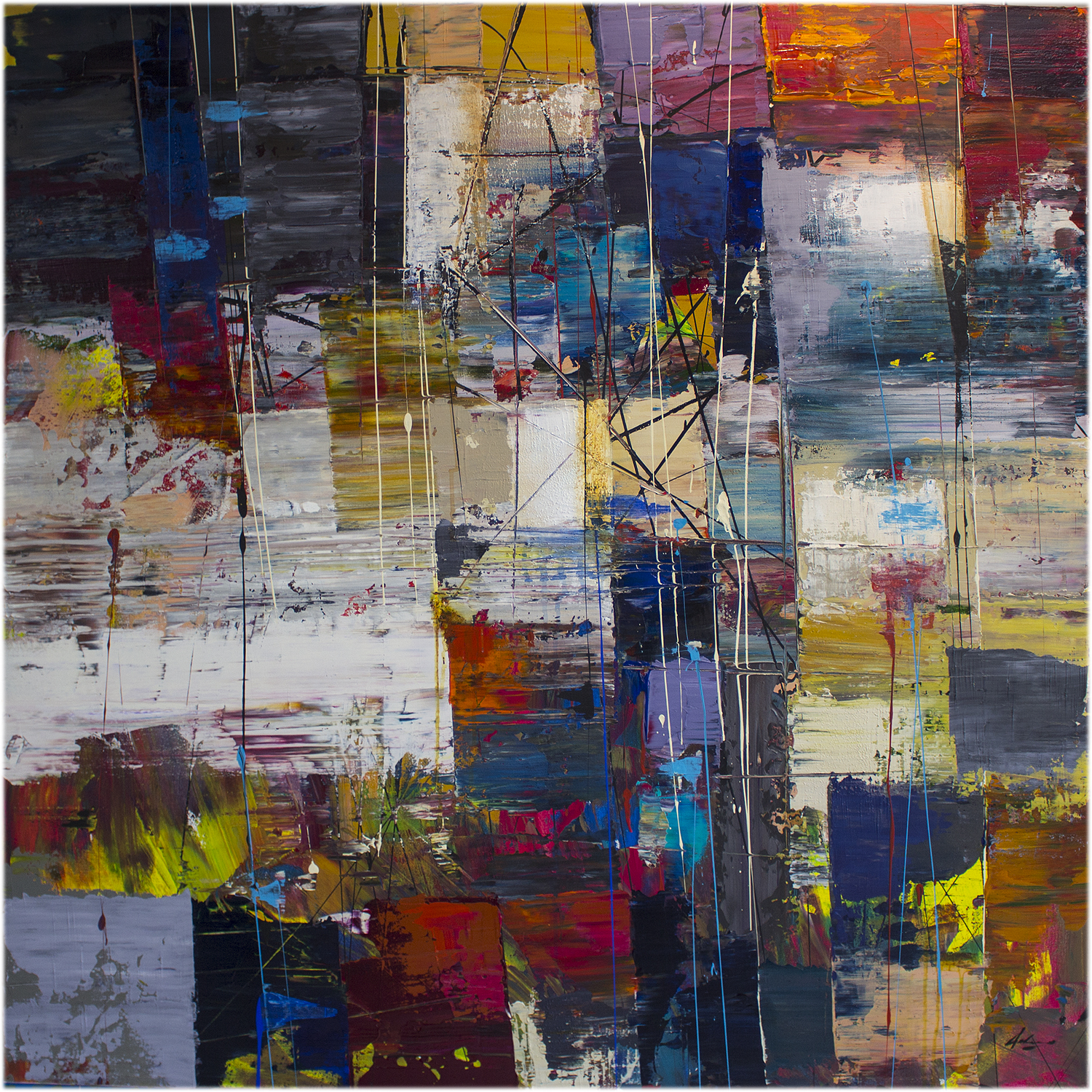 "Commute: Arrivo  48"" x48"" mixed media on canvas"