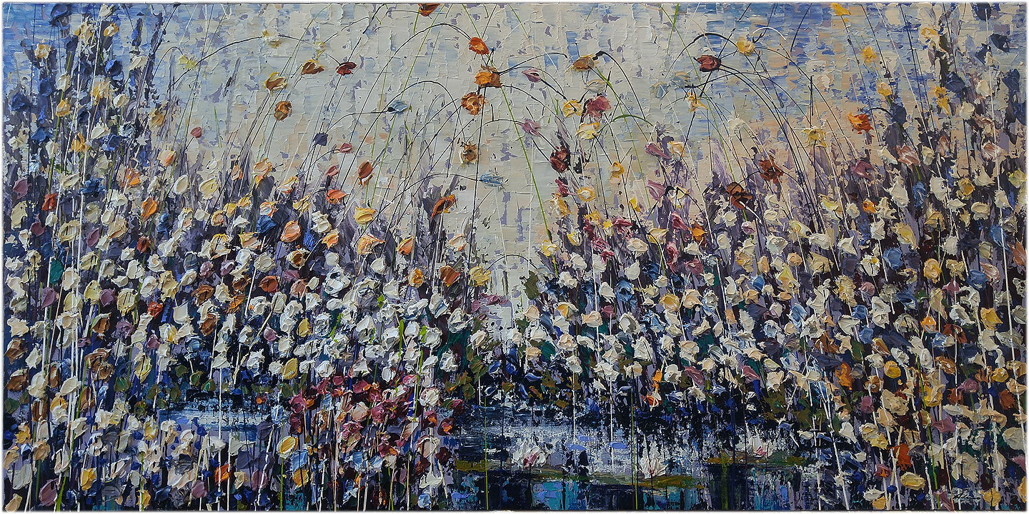 "Sweet Meadow Dream 36"" x 72"" Acrylic and mixed media on canvas"