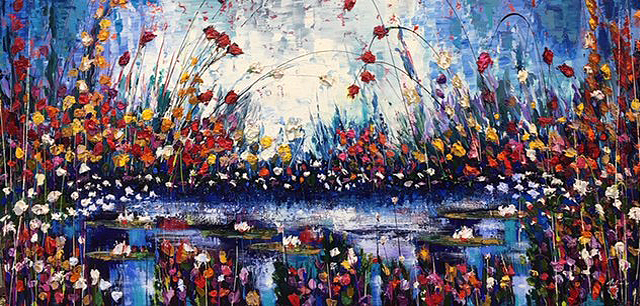 "Nuova Gloria 36"" x 72"" Acrylic and mixed media on canvas"