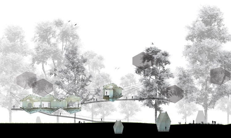 Sustainsville concept section with individual pods, collective pods and embedded pods.