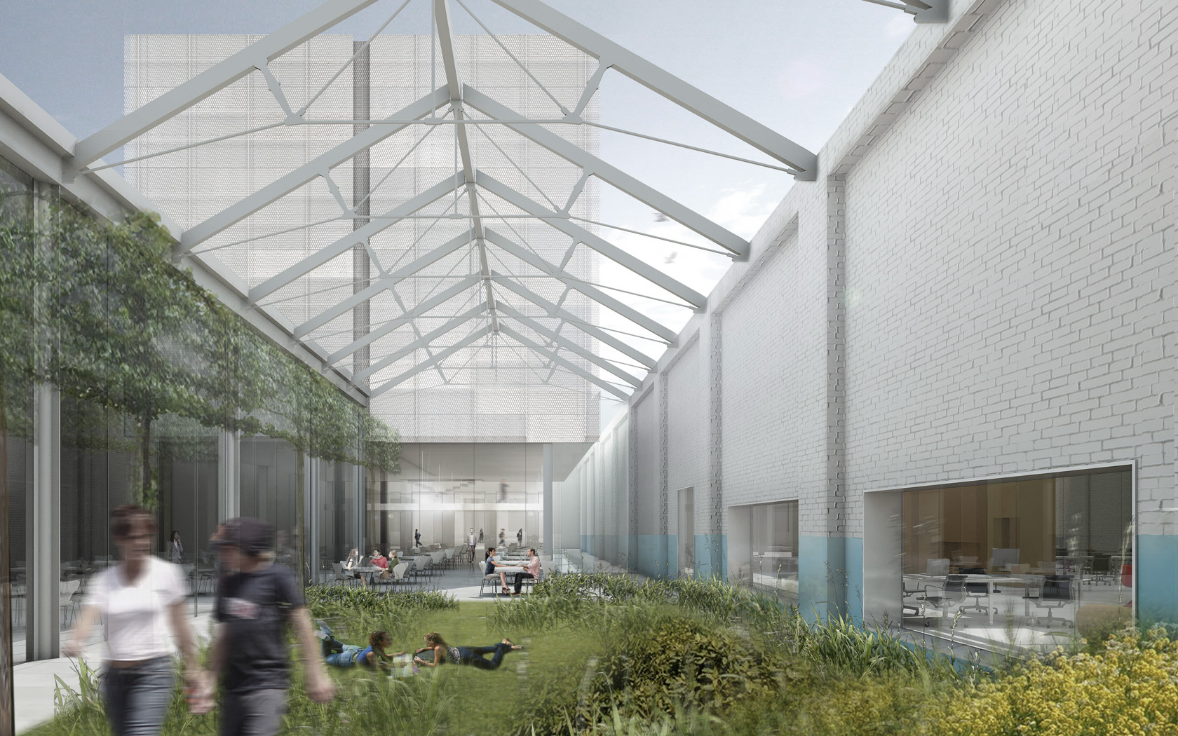 By taking out some of the weak spots of the complex in bad condition, open, green areas are created, scaling down the large mass of the building and providing daylight to all spaces.