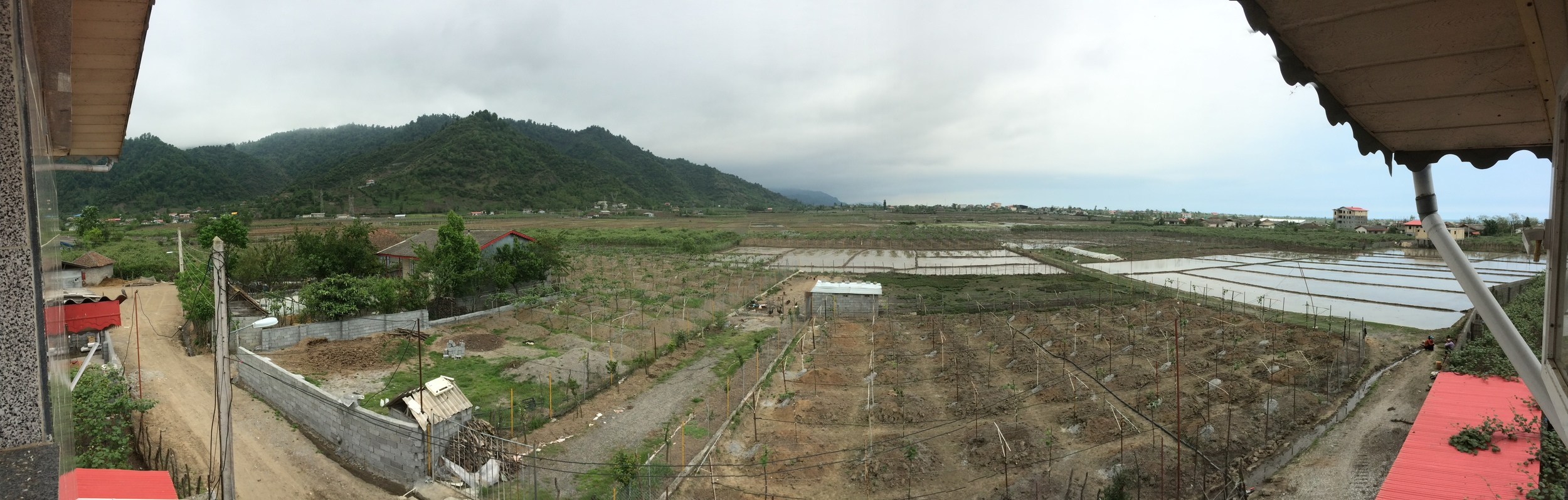 The site of our new double house project, squeezed in between the mountains in the west and the Caspian Sea in the east.