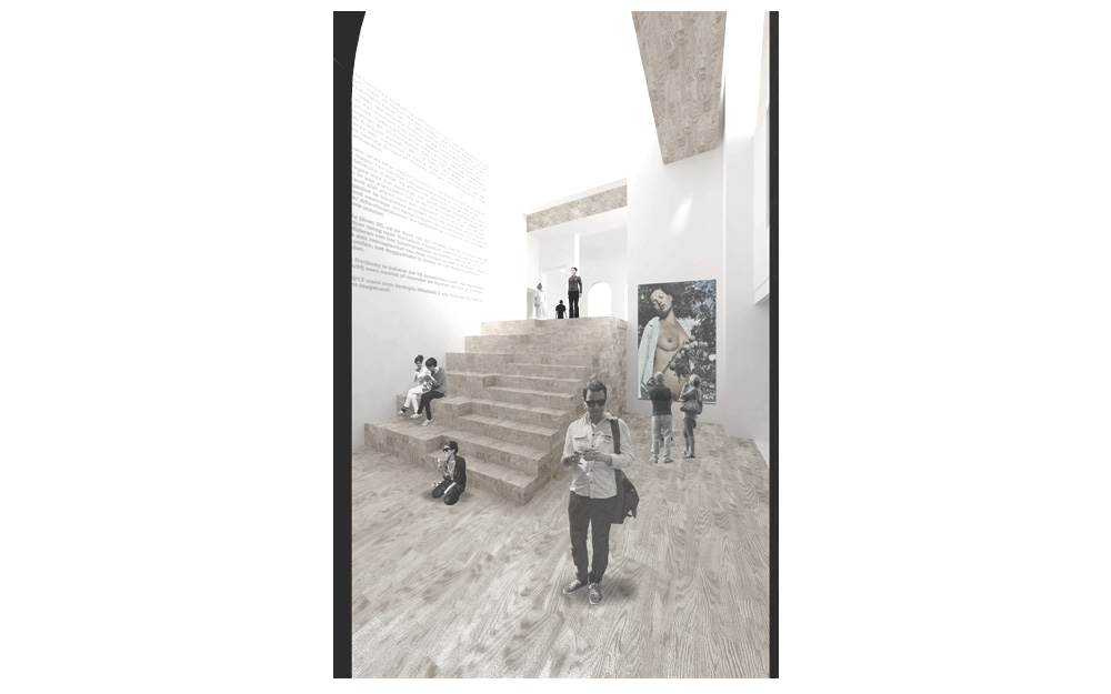 Next to the hall, a new vertical space is created by taking away the existing infrastructure. A room that links all rooms helps to understand the complex disposition of the different art spaces.