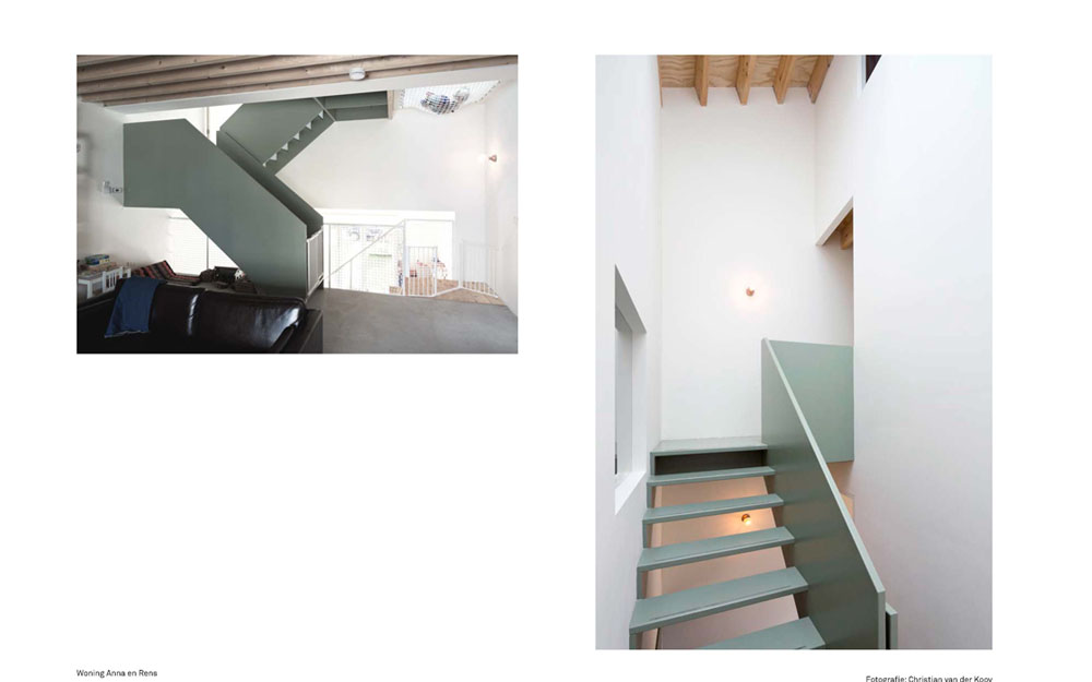 House nr 3 has a large canyon like space with a sculptural staircase in the middle.