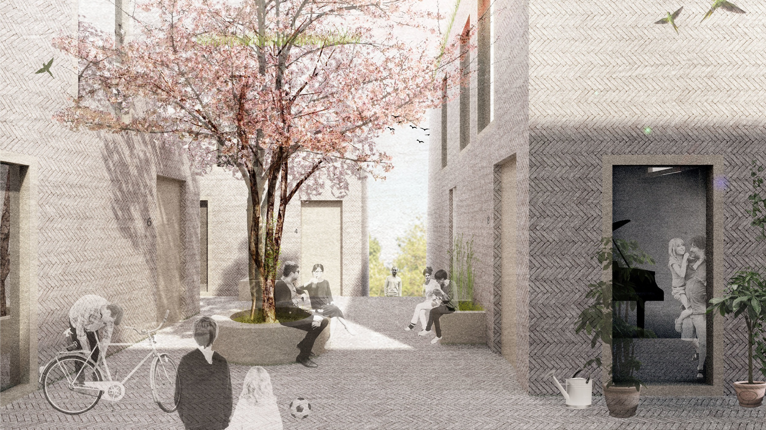 The top 6 houses are collected around a raised courtyard, creating a small scale shared semi-public space.