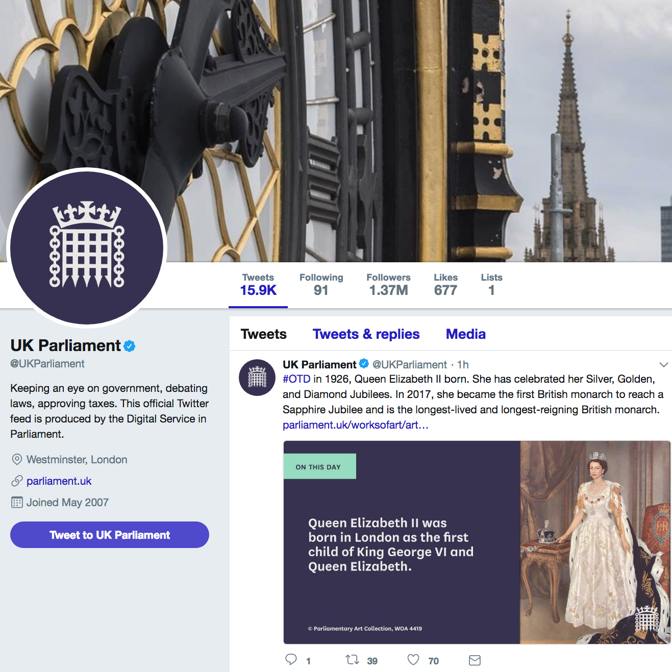 UK Parliament social media branding - Working with the design team in PDS and external agency SomeOne, UK Parliament's branding was implemented on all their social media channels.
