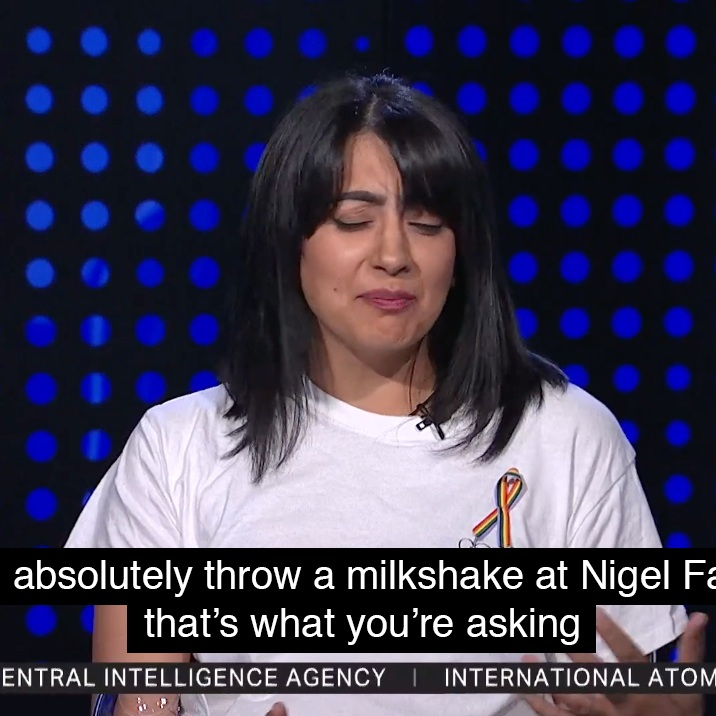 TRT World - On TRT World, talking about milkshake protests, where I very confidently said I would happily throw a milkshake at Nigel Farage.