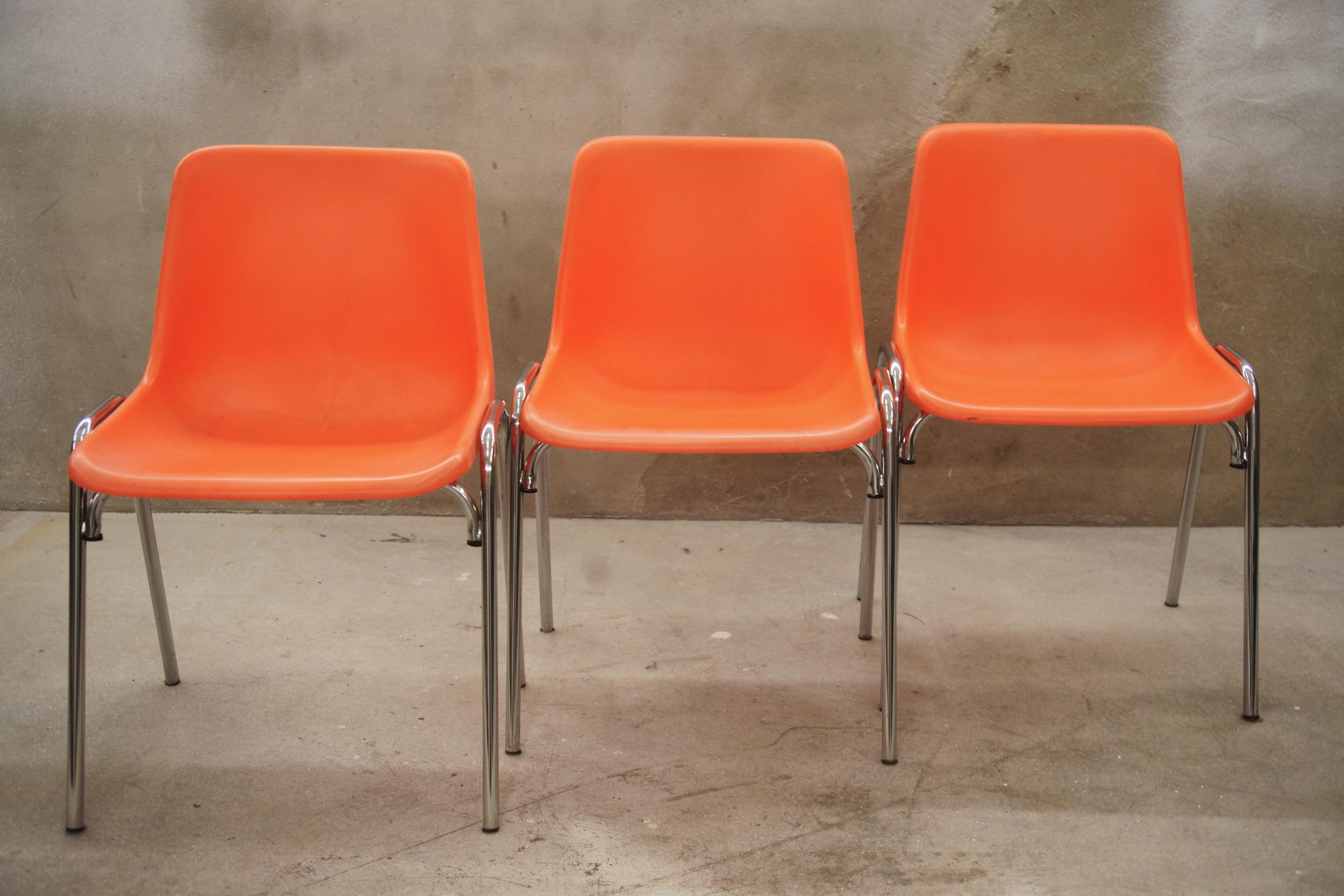 Stoel, oranje/chrome, +20 stuks