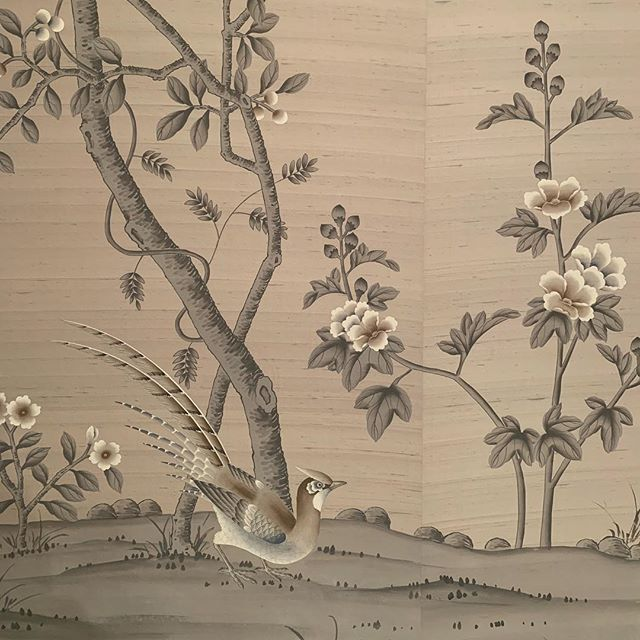 This little guy is shaking some very smart tail feathers on site today #handpaintedwallpaper #fromental #luxuryinteriors
