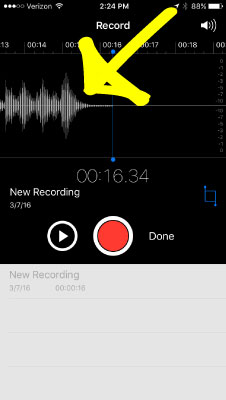 Step 3: As you're recording, you'll see a wave file being created. Keep your message brief. Say your name and where you're from and ask your question.