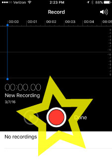 Step 2: Open the app and press the red record button to begin. You  can hold the phone just like you're making a phone call, but it sounds best if you turn it upside down and talk into the bottom like a singer would hold a microphone.