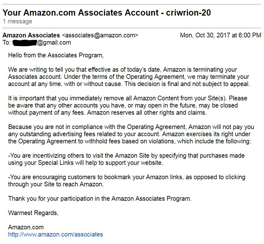 Check out the email we got kicking us off the Amazon Associates program!