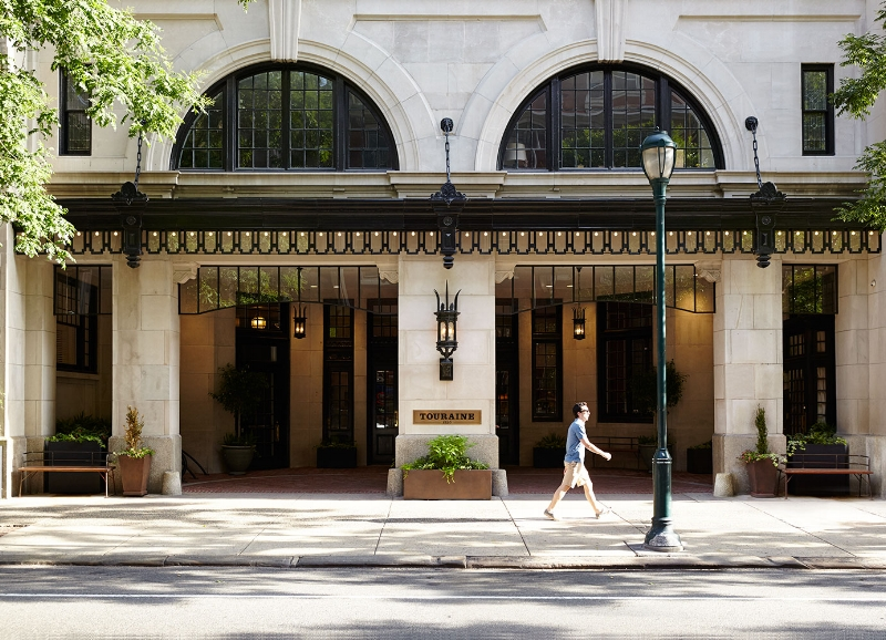 Front entrance at The Touraine Apartments in Rittenhouse Square Philadelphia