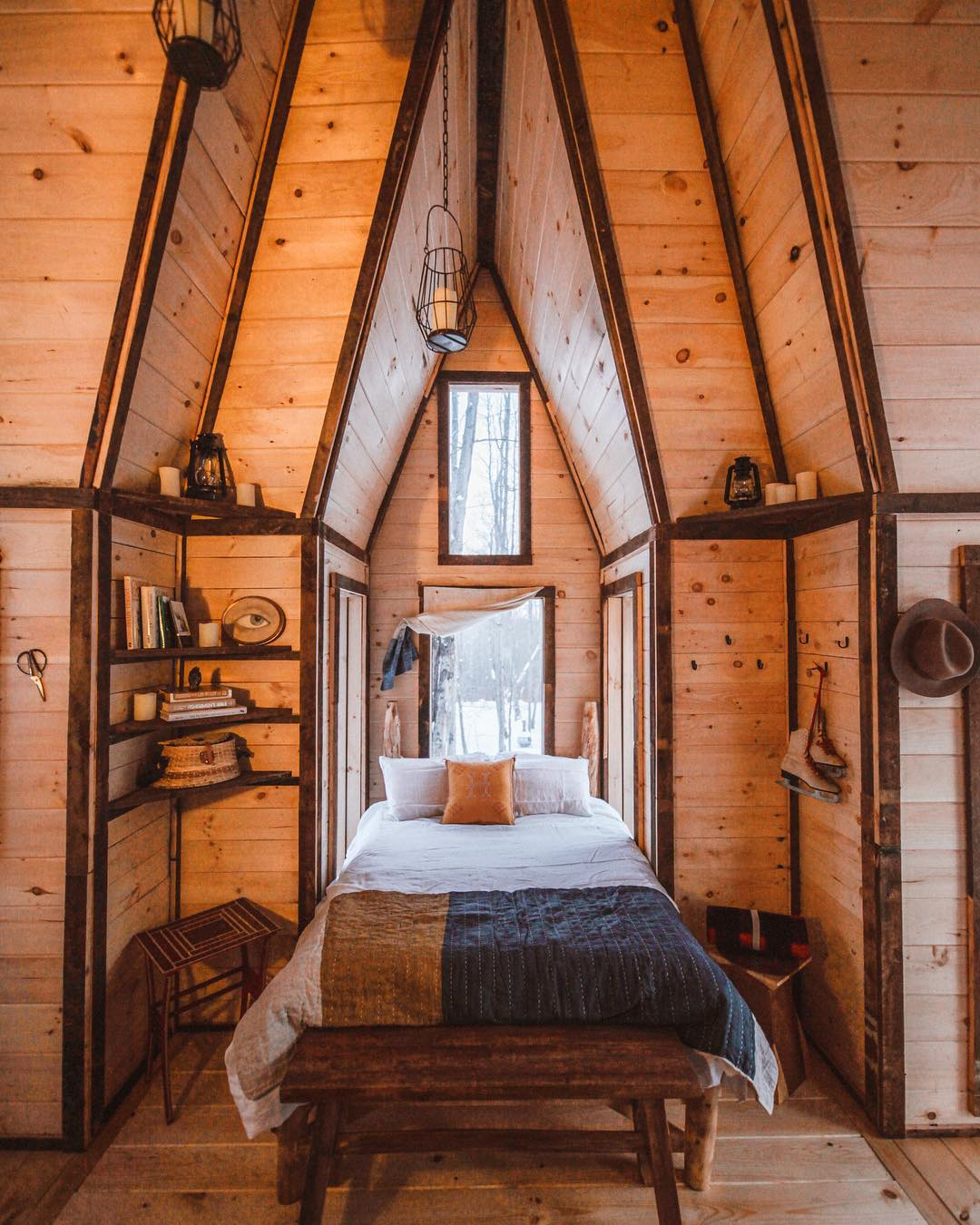 Crosspire Cabin - This dreamy cabin in the Catskill Mountains was designed by Jacob Witzling and built by Scott Pearson and Ethan Hamby. Our friend, Lindsey Bro, worked her magic decorating the inside with perfectly picked goods by so many wonderful makers filling each little nook and cranny...If you look closely, there's even a Makers Workshop flag hanging in the window.