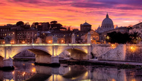 Rome over the Tiber River