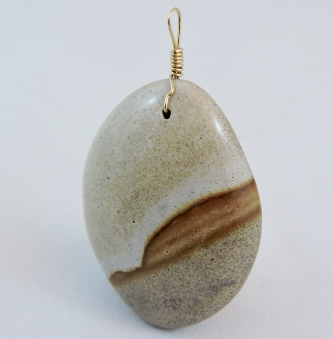 Serenity Stone Jewellery Pendant in Gold Plated Wire from Haida Gwaii