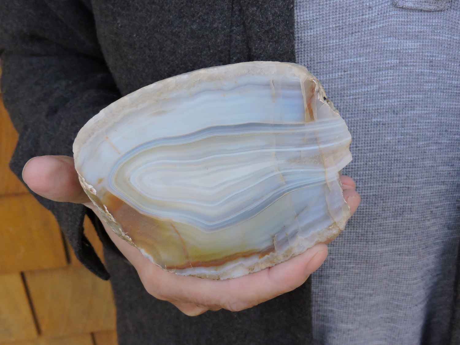 A blue and yellow fortification agate from Dutes' private collection. Dutes hopes to house his collection in a local museum or educational institution on the islands.