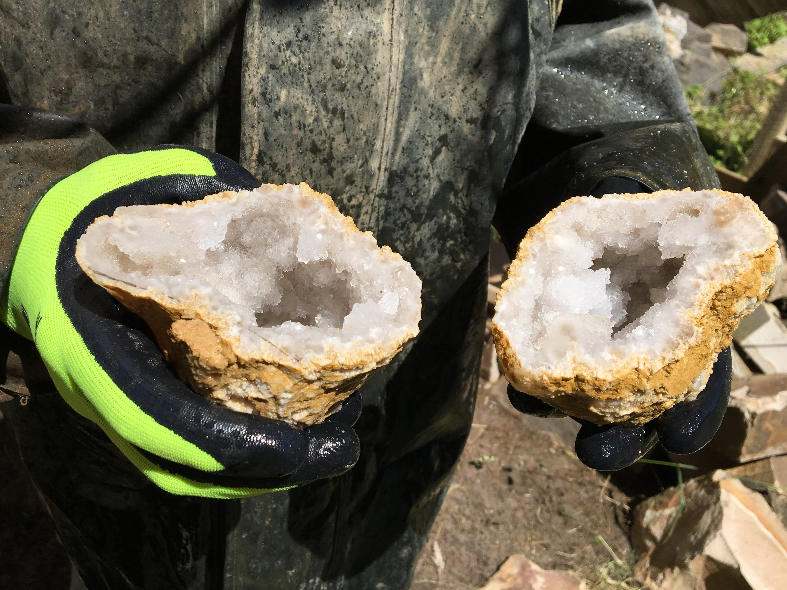These crystal clear Fairy Geodes were cut at Crystal Cabin in Haida Gwaii.