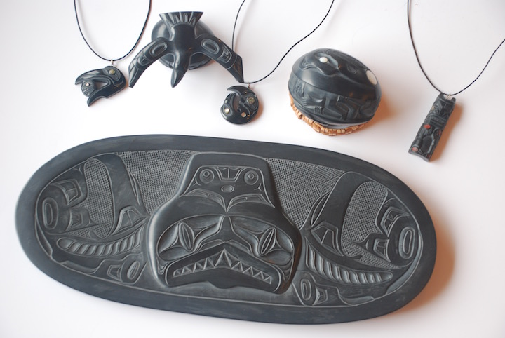 From the Crystal Cabin archives. A collection of Argillite carvings by Haida Carvers from Haida Gwaii.