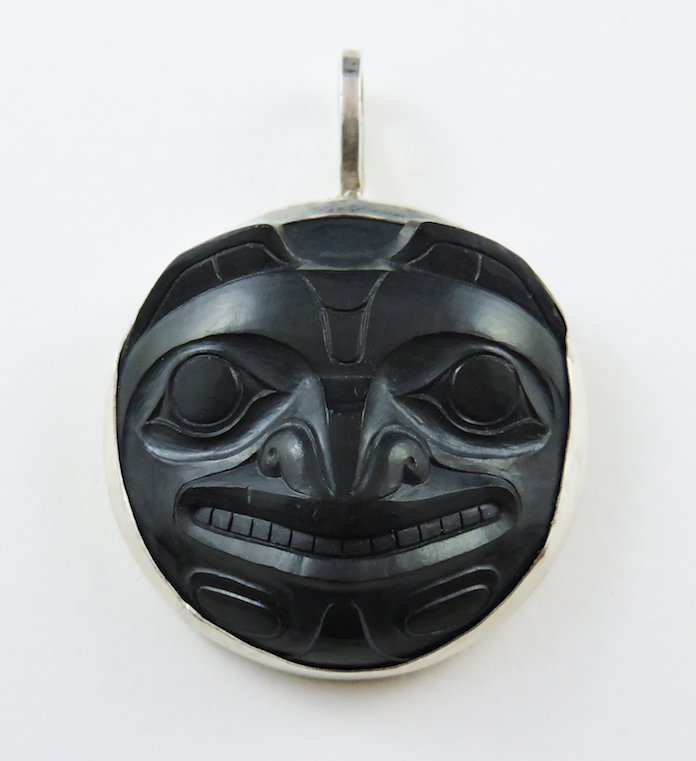 This Bear Medallion set in sterling silver is carved by Haida Artist Marcel Russ.This piece can be purchased on our website.