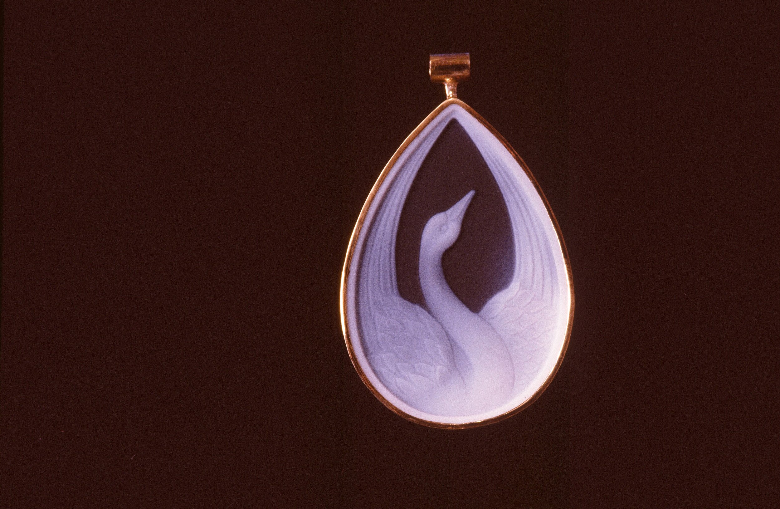 Carved Swan Agate Cameo, set in 14K Gold. Inquire to custom order.