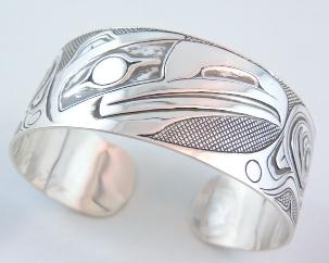 Oxidized Silver Raven Bracelet