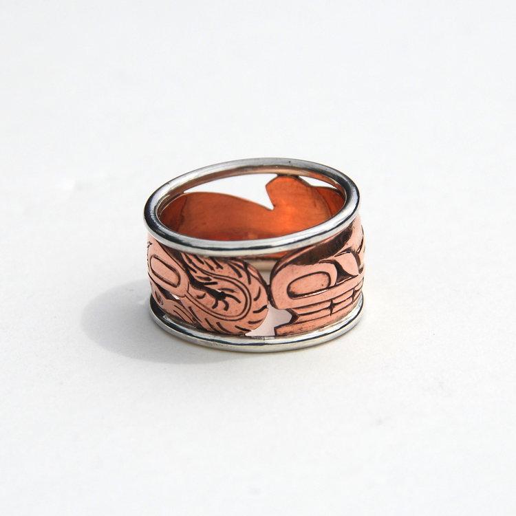 Haida Sea Wolf (Wasco) Copper & Silver Ring