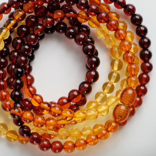 Natural Amber Colour Gradation Round Necklace