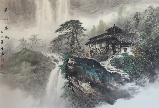 House on a Mountain Waterfall 1 Person.JPG