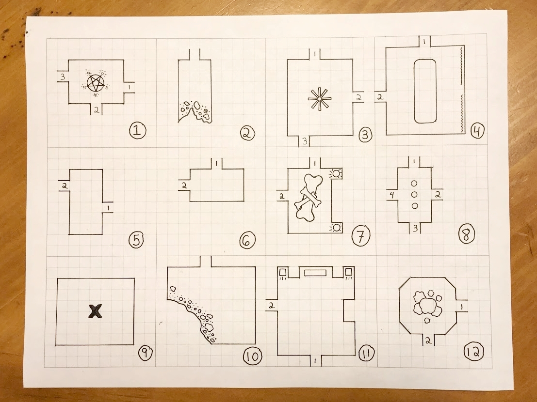 The complete map - with decorations, adjustments, room numbers, and exit numbers.