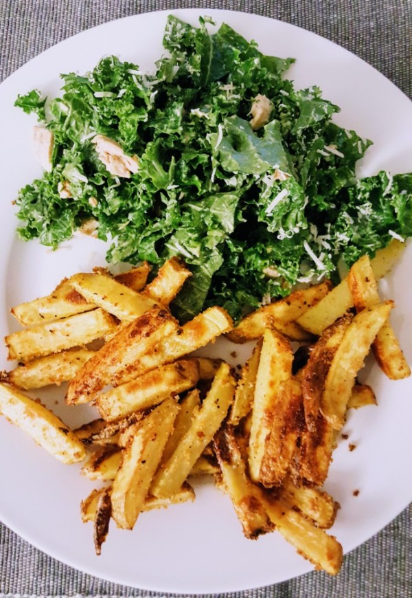 Avocado Kale Caesar Salad + Crispy French Fries