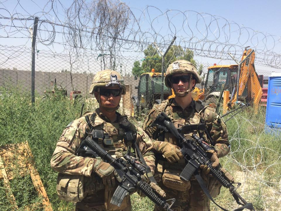 1LT Brehany and his platoon sergeant prepare to go on a dismounted mission in Afghanistan.