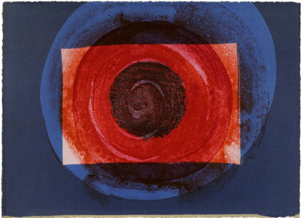 Artist: Howard Hodgkin  Title: Sun from More Indian Views, 1976  Edition of 60  Medium: Lithograph on Paper  Dimensions: 23 cm (h) x 30.5 cm (w)