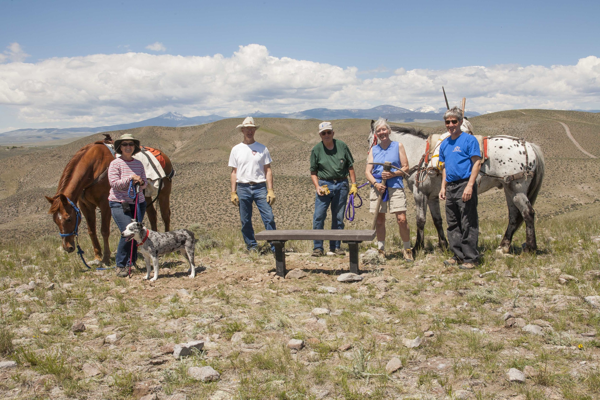 A handful of the volunteers from the Three Rivers Backcountry Horseman Chapter and Beaverhead Trails Coalition that helped install a new bench on the Dillon Overlook Trail. June 6, 2015.