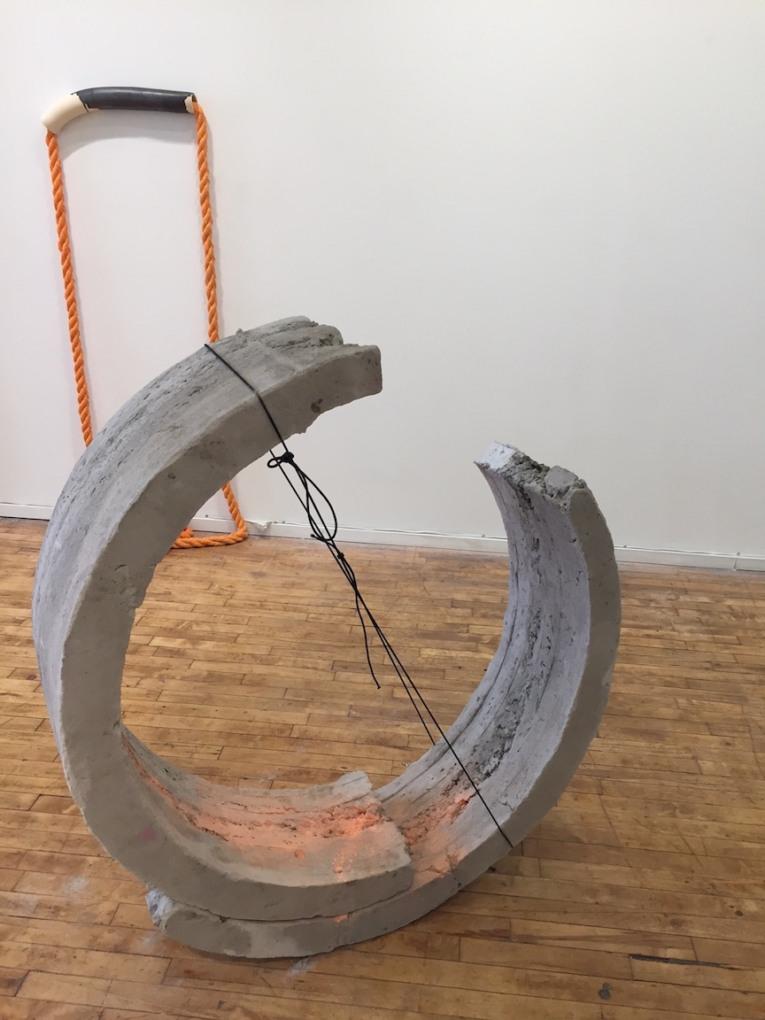 Front:  Curving, concrete, paint and cotton rope, 2017   Back: Haven, ceramic and cotton rope, 5ft x 2ft, 2017