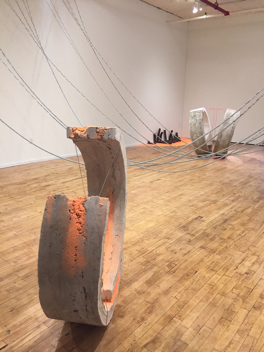 Front:  Curving, concrete, paint and cotton rope, 2017   Center:  Crossover, steel wire rope   Back right:  Both, concrete, paint and cotton rope, 2017   Back left: Glory, ceramic and construction chalk, 6ft x 3ft x 22in, 2017