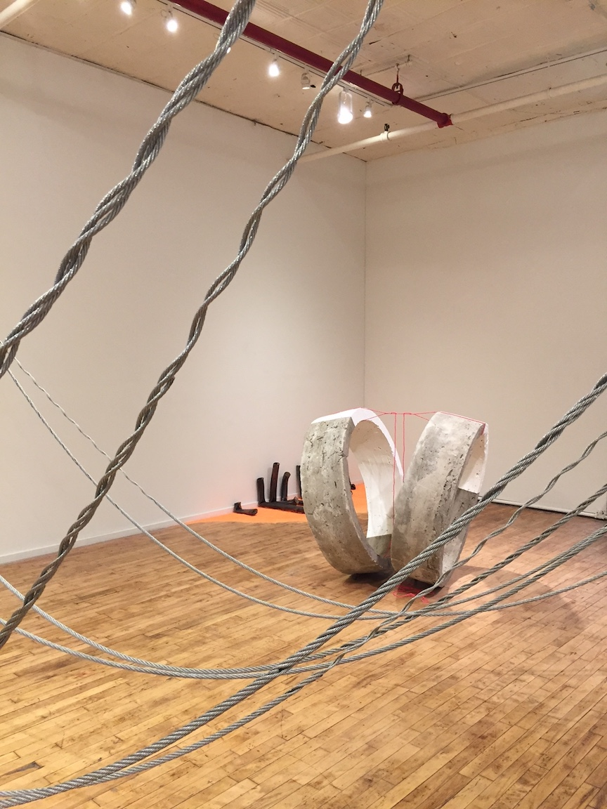 Front: Crossover, steel wire rope   Back right:  Both, concrete, paint and cotton rope, 2017   Back left: Glory, ceramic and construction chalk, 6ft x 3ft x 22in, 2017