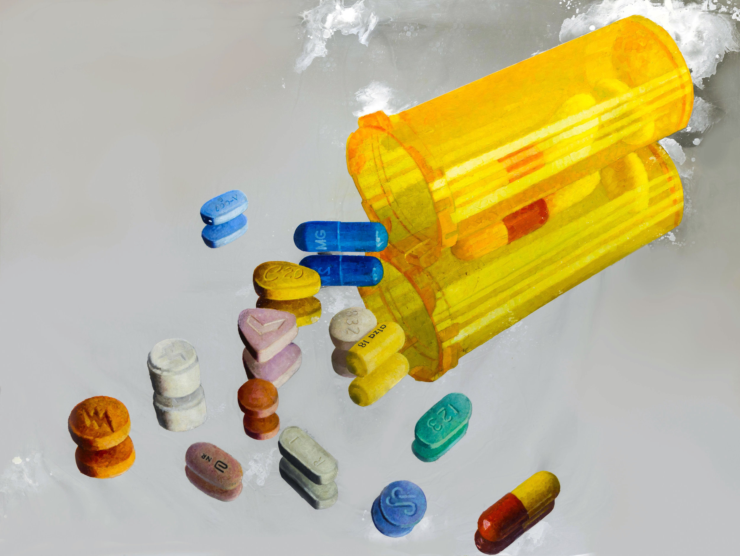 "Pills, 2010  oil on mirror 48""x60"""