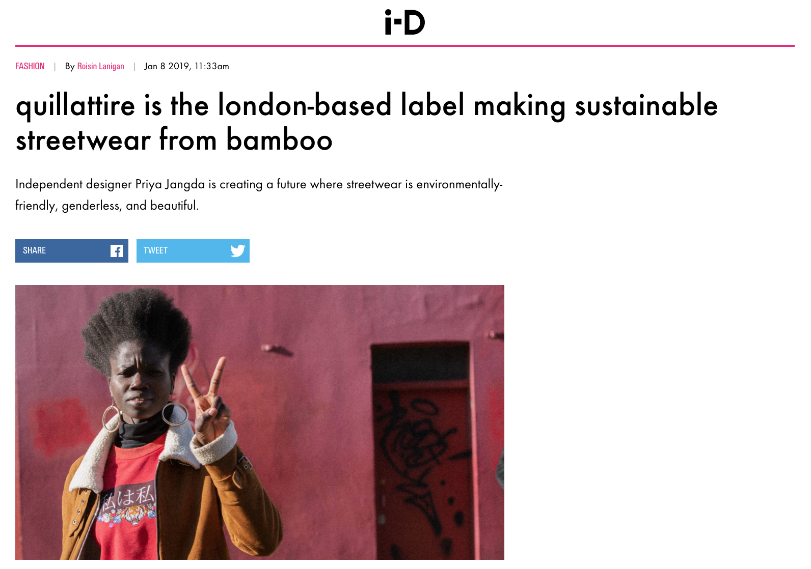 Quillattire Interview with I-d Magazine