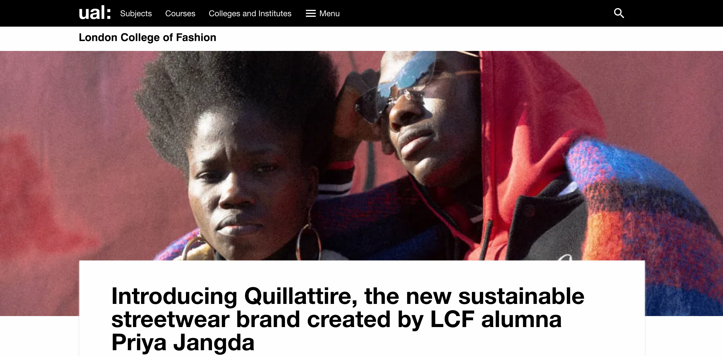 Quillattire interview with London College Of Fashion