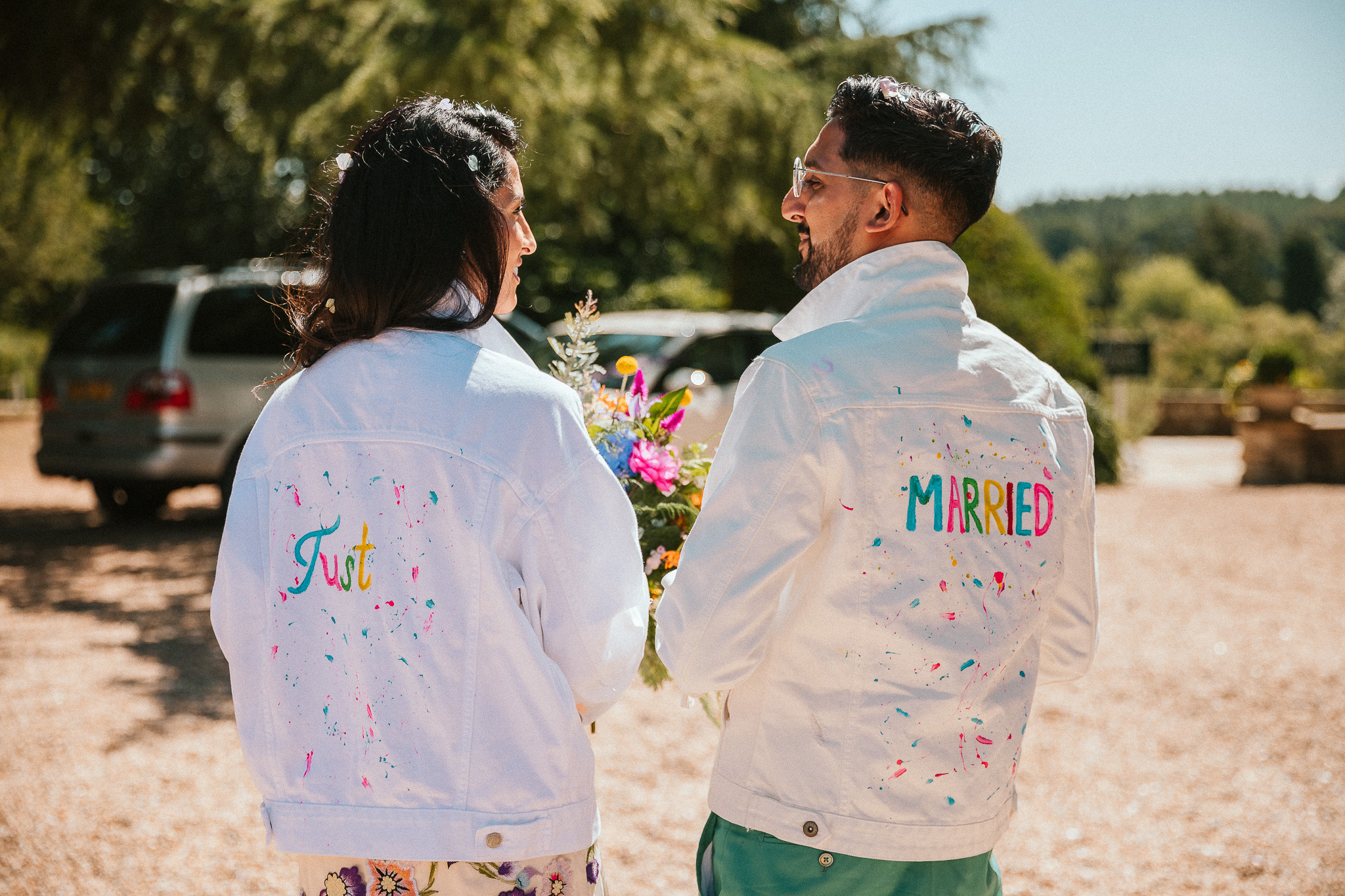On the day of the wedding at 00:03 i decided to make me and my now husband some denim jackets, i did not have a clue what to do but i knew it had to be colourful like the day! So i came up with this, they were a great extra pinch of fun to the day!