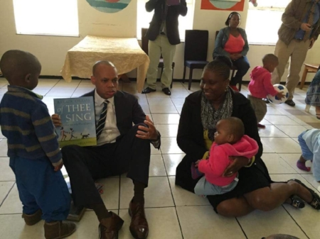 Rose with U.S. Ambassador Patrick Gaspard at Bethany Children's Home.