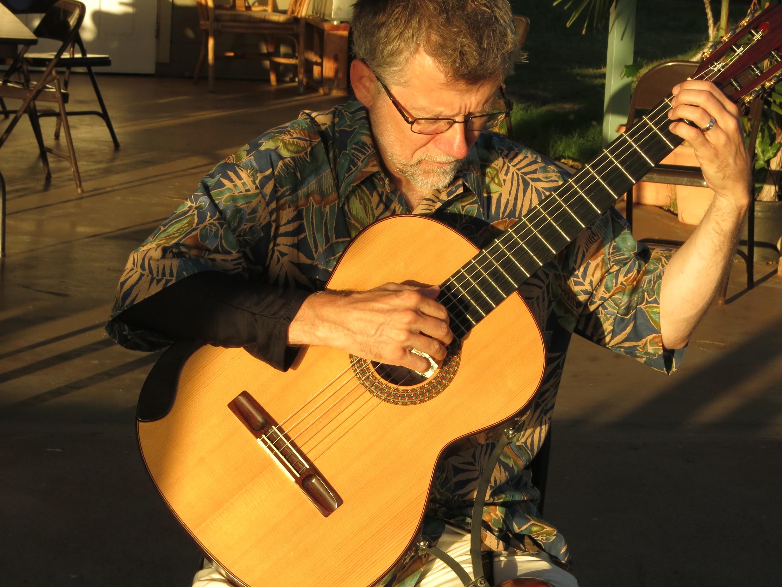 John Olson warming up at the Lahaina Jodo Mission (2014)