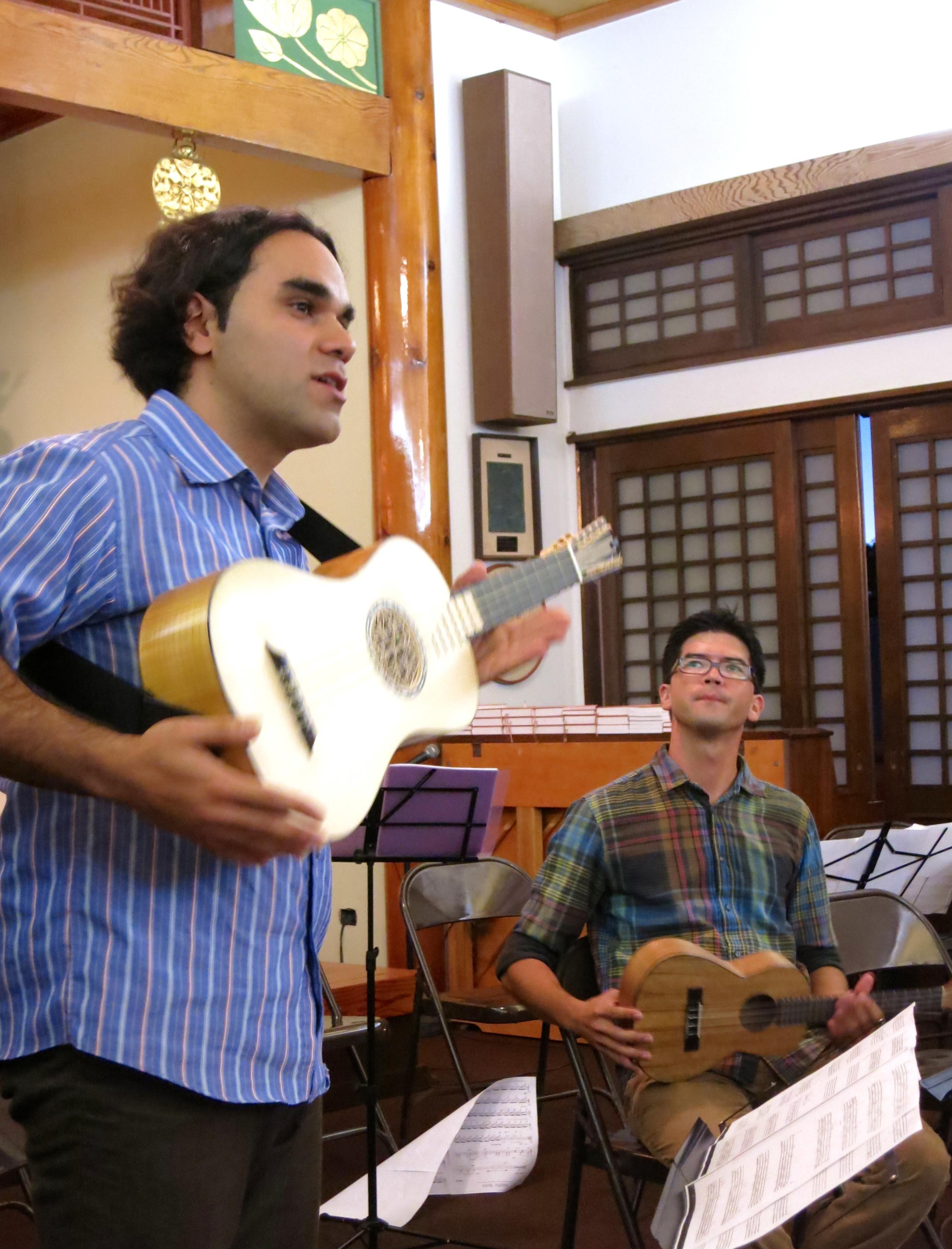 Arash Noori (baroque guitar) and Ian O'Sullivan (ukulele) at the Lahaina Jodo Mission (2014)
