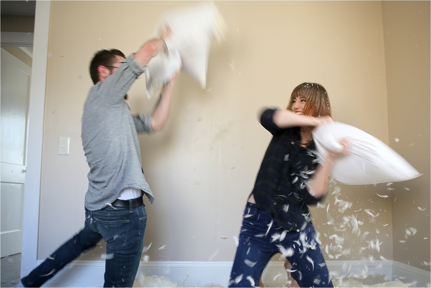 Pillow Fight Engagement Photos | Blacksburg Engagement Photographer