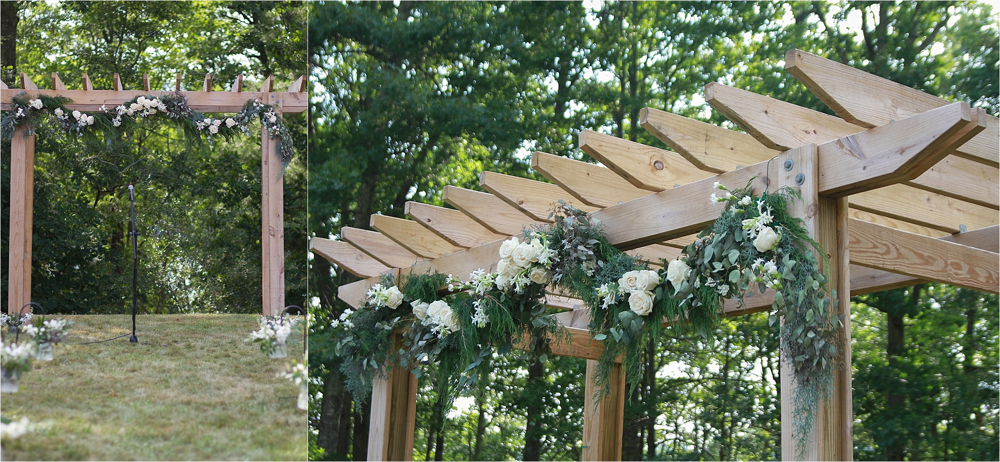 Wedding Altar Garland with White Roses Flat Top Lake West Virginia Wedding Photography