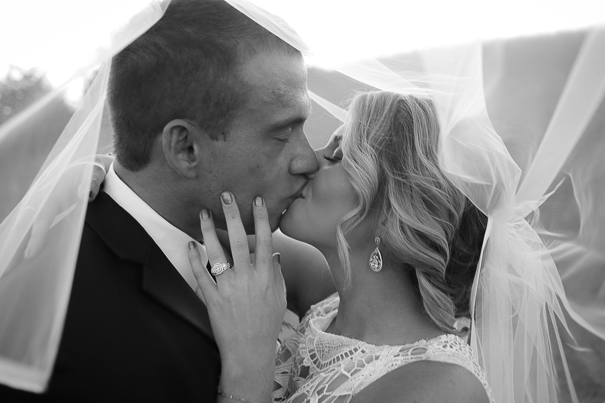 Black and White, Bride and Groom Kissing Under Wedding Veil | Virginia Wedding Photographer Holly Cromer